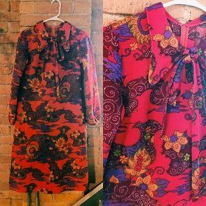 Icelandic Vintage 70s Paisley Floral Dress